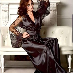 Other - Long Black Sheer & Lace Robe